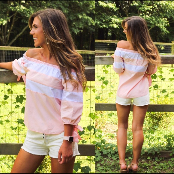 polagram Tops - OTS pink and White striped top